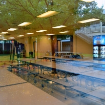 photo taken through plate glass of the interior of the CHS cafeteria