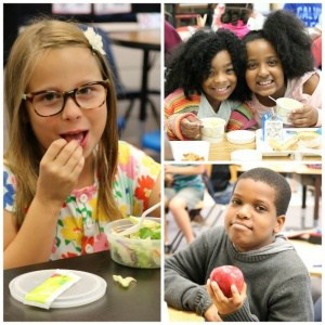 Children eating healthy foods.
