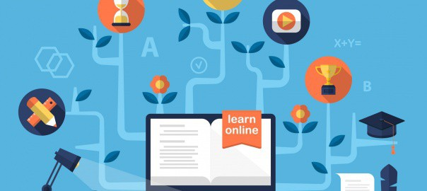 Online learning image showing computer surrounded by learning tree with symbols for goals, time management, rewards etc.