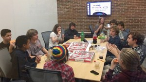 BACON's ZR team: 2nd place in the world deserves a little pizza.