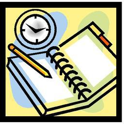 notebook with clock and pencil
