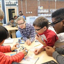 Students testing electrical conductivity
