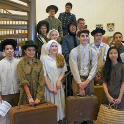 Students in costume for a performance
