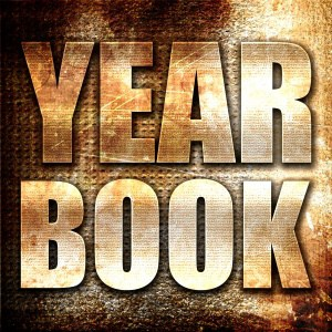 yearbook, 3D rendering, metal text on rust background