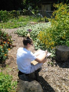 Student drawing in the garden on the second day of school.
