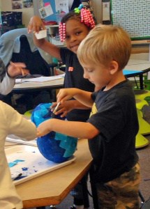 Making globes at Clark