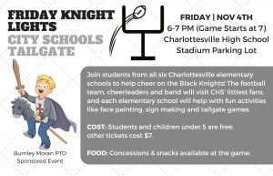 Flyer for Elementary Tailgate at CHS Football game on 11/4. Call 245-2962 for more info.