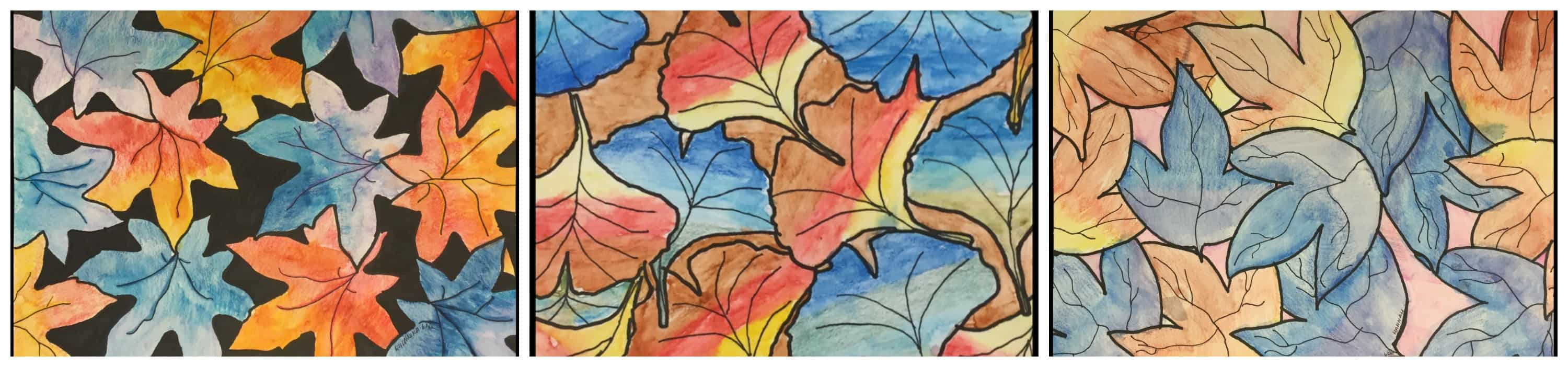 Leaf artworks by Walker students