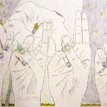 "drawing of hands spelling ""True"" with flower background"