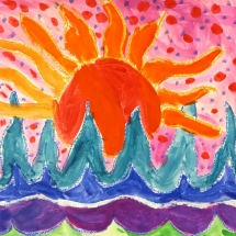 sun and waves painting