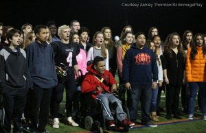 Choir singing national anthem. Courtesy Ashley Thornton/ScrimmagePlay