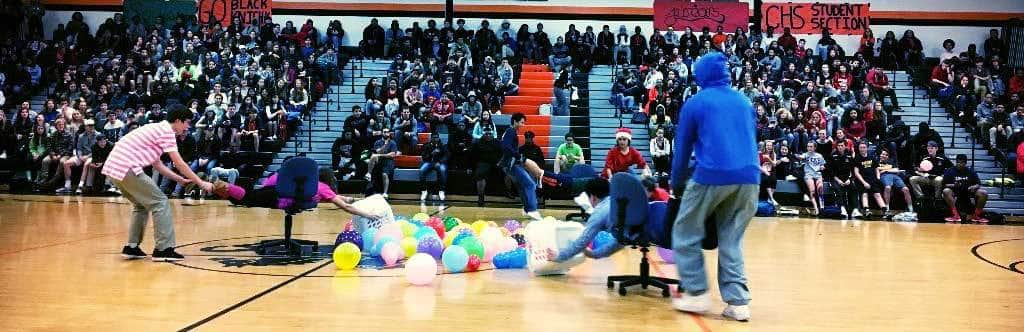 "CHS students play ""Hungry, Hungry Hippos"" at pep rally."