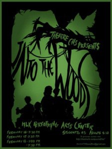 Poster for Theatre CHS's presentation of Into the Woods.  Call 245-2962 for details.
