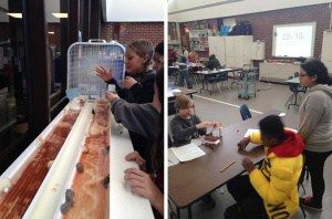 Walker students designing and testing toy boats in a James River experiement
