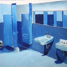 Artwork by Charlottesville High School 11th grade student, Carmen Day. Image of a school bathroom in tones of blue.