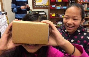 Nepalese students at Walker taking a Virtual Reality tour of their home country.