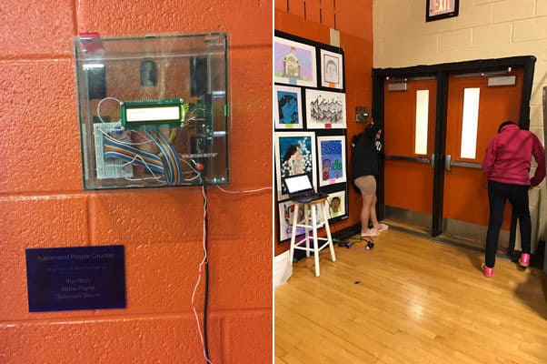 Buford Engineering students install a counting device to help the CCS Art Department keep track of traffic at the annual art exhibit.