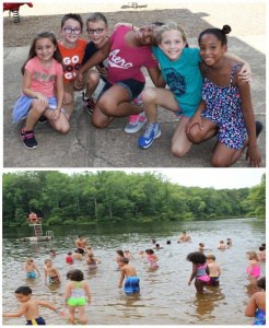 Images of children playing and swimming at a local park with Camp ExL