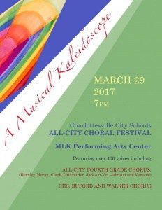 Flyer for All-City Choral Festival 3/29 at 7pm. For details, call 245-2671.