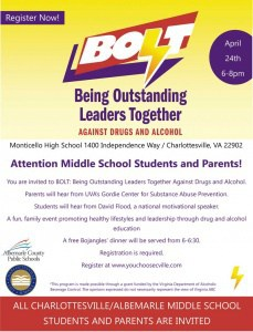 BOLT community dinner for middle schoolers April 24. Call 245-2411 for details.