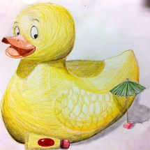 colored pencil drawing of a yellow duck