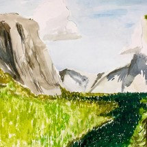 artwork depicting tall cliffs and mountains against a green meadow