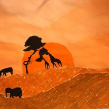 drawing in shades of orange of an African landscape