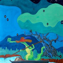 painting in blues and greens of a crocodile in a shallow boat in a swamp