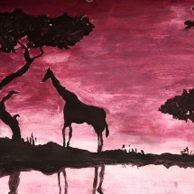 drawing/painting in shades of red and pink of an African landscape