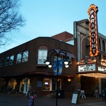 photograph of the Paramount Theatre in Charlottesville at dusk