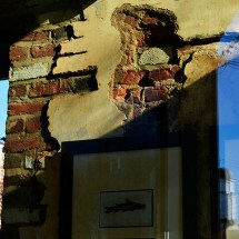photograph of the corner of a brick building in disrepair