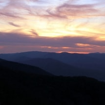 landscape at sunset of the Blue Ridge Mountains
