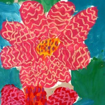 painting of red flowers by Greenbrier 1st grader Nerissa