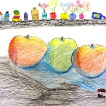 colored pencil drawing of apples