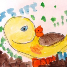 watercolor of yellow duck