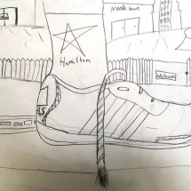 drawing of a sneaker with untied shoelaces