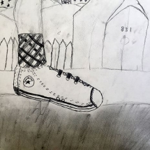 drawing of a sneaker