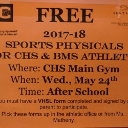 Sign for free sports physicals at CHS in the main gym at 4pm. Call 245-2410 for more.