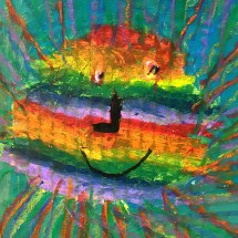 student artwork depicting a rainbow-colored sun