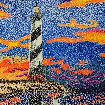student pointillism artwork depicting a lighthouse at sunset