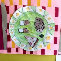 student artwork depicting a dining table placesetting