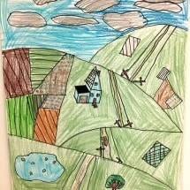 student drawing of a landscape