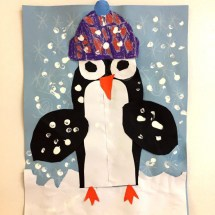 student collage artwork depicting a penguin