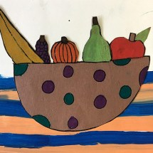 student collage artwork depiction of a bowl of fruit