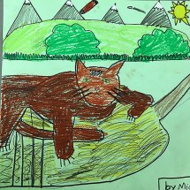 student drawing of a fox