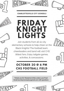 Flyer for Friday Knight Lights tailgate.
