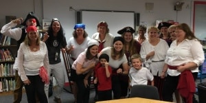 "Jackson-Via students and staff dress as pirates for ""Shiver Me Letters"" math and literacy night."