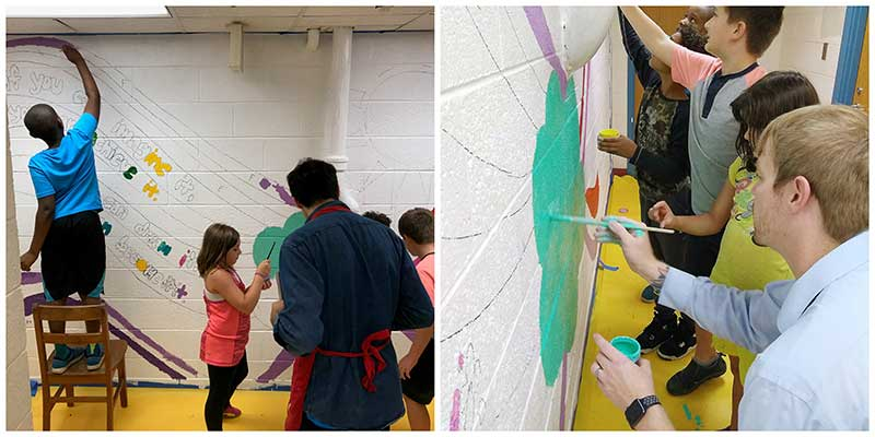 Pictures of the Burnley-Moran wall mural painting project.