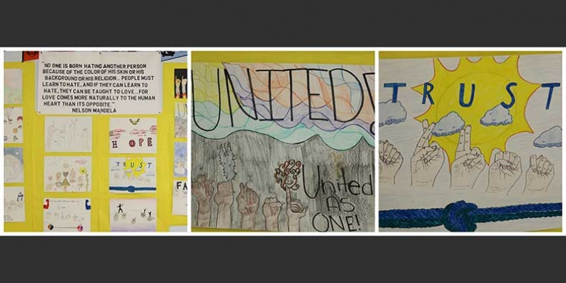 Buford art students created an art collage based on reactions to a Nelson Mandela quotation about love.