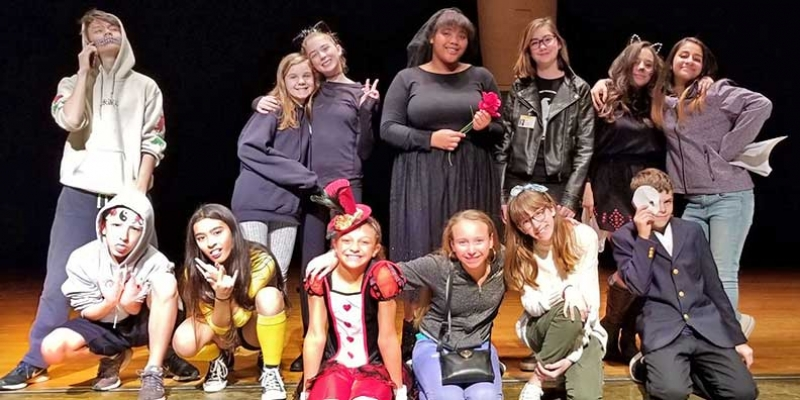 Buford Stage Left theater group poses for Halloween picture.